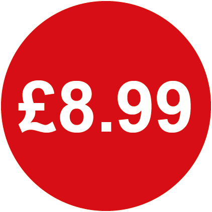 £8.99 Round Price Labels Red