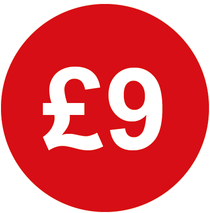 £9 Round Price Labels Red
