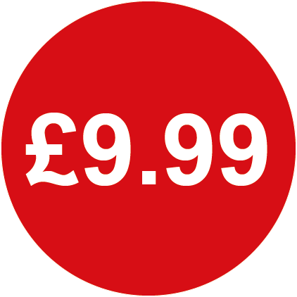 £9.99 Round Price Labels Red