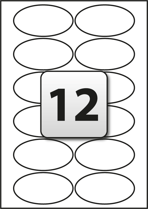 12 Oval Labels per A4 sheet 85 mm x 45 mm