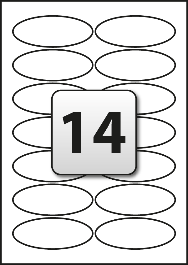 14 Oval Labels per A4 sheet 90 mm x 35 mm