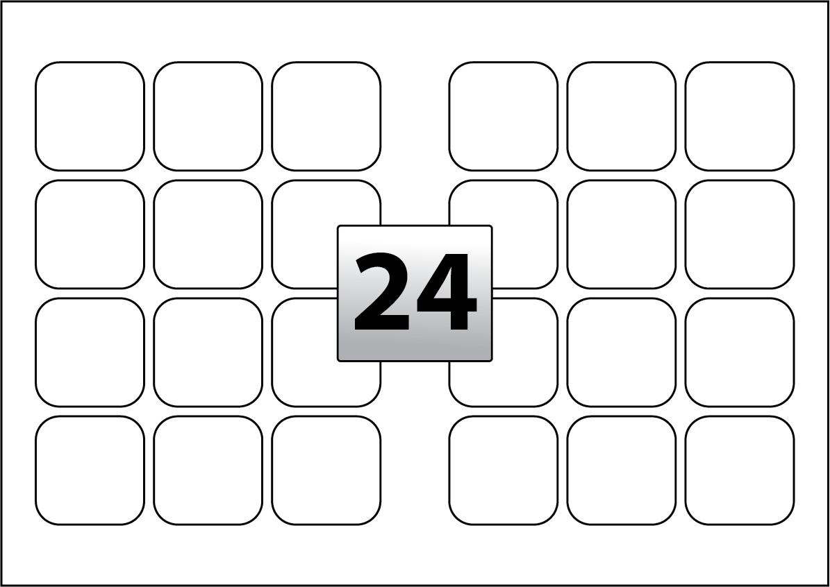 24 Rectangle Labels per A3 sheet 55 mm x 55 mm - Flexi Labels