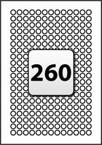 260 Labels per A4 Sheet, 10 mm Diameter