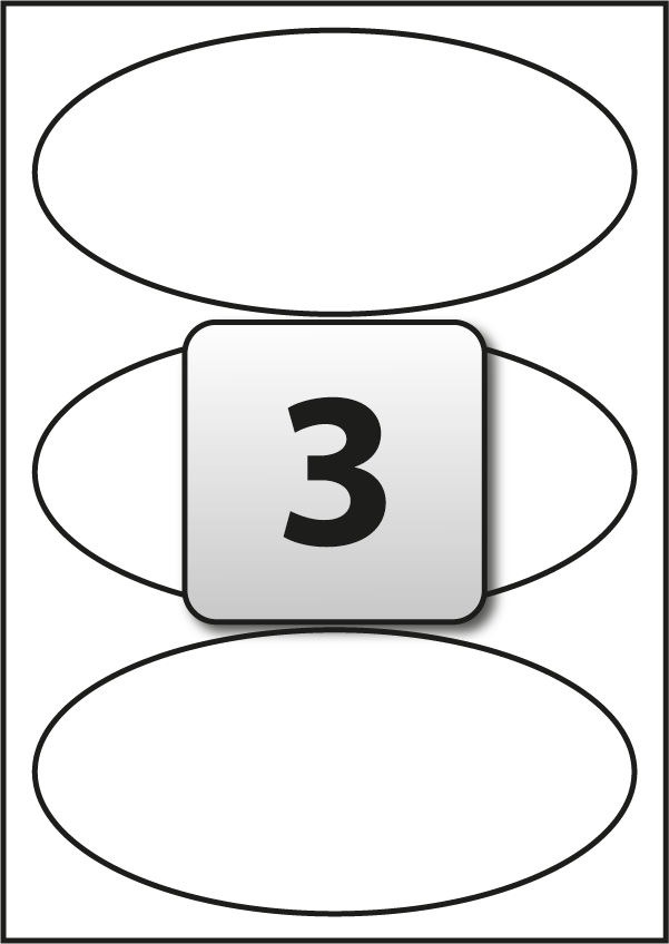 3 Oval Labels per A4 sheet 190 mm x 90 mm