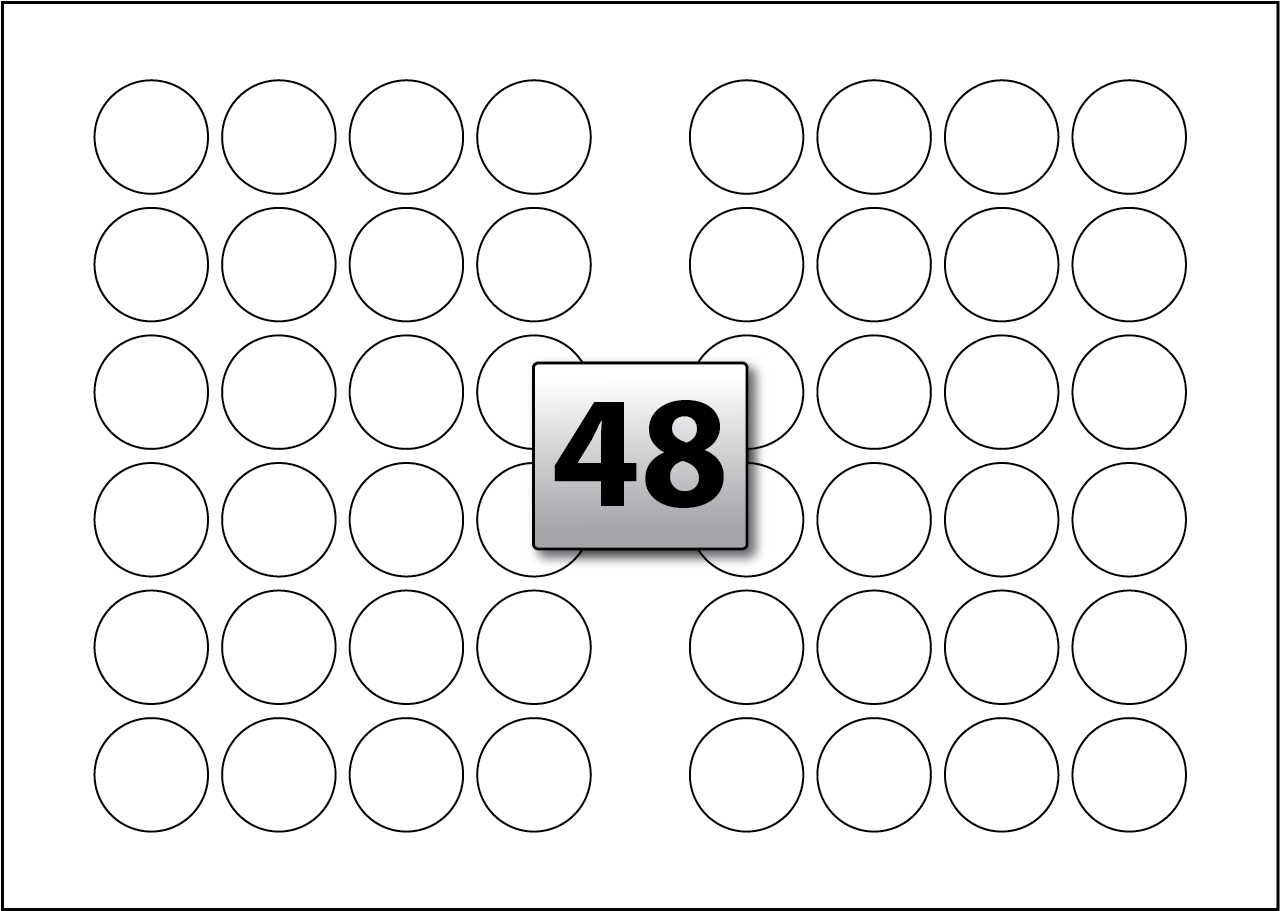 48 Round Labels per SRA3 sheet 40 mm Diameter