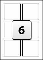 6 square labels per a4 sheet 80 mm x 80 mm flexi labels