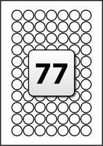 77 Labels per A4 Sheet, 21 mm Diameter