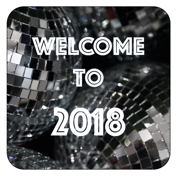 Disco Ball Welcome to 2018 New Year Themed Stickers