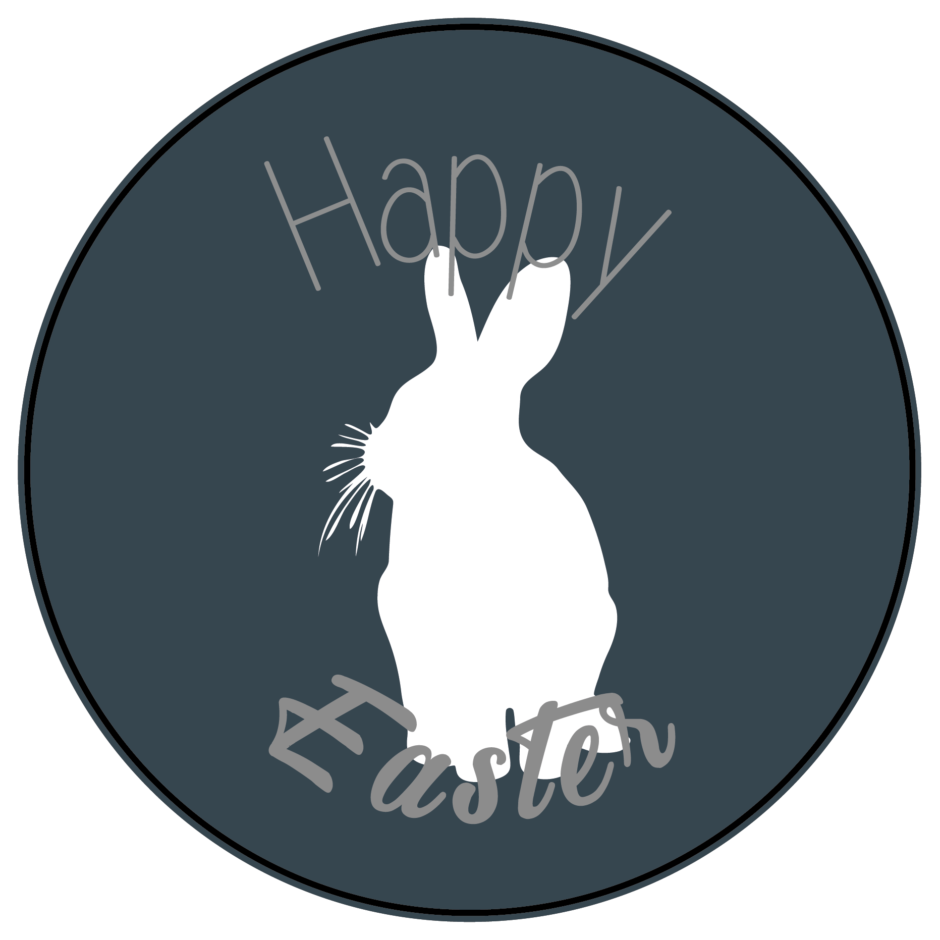 Bunny Silhouette Easter Themed Stickers