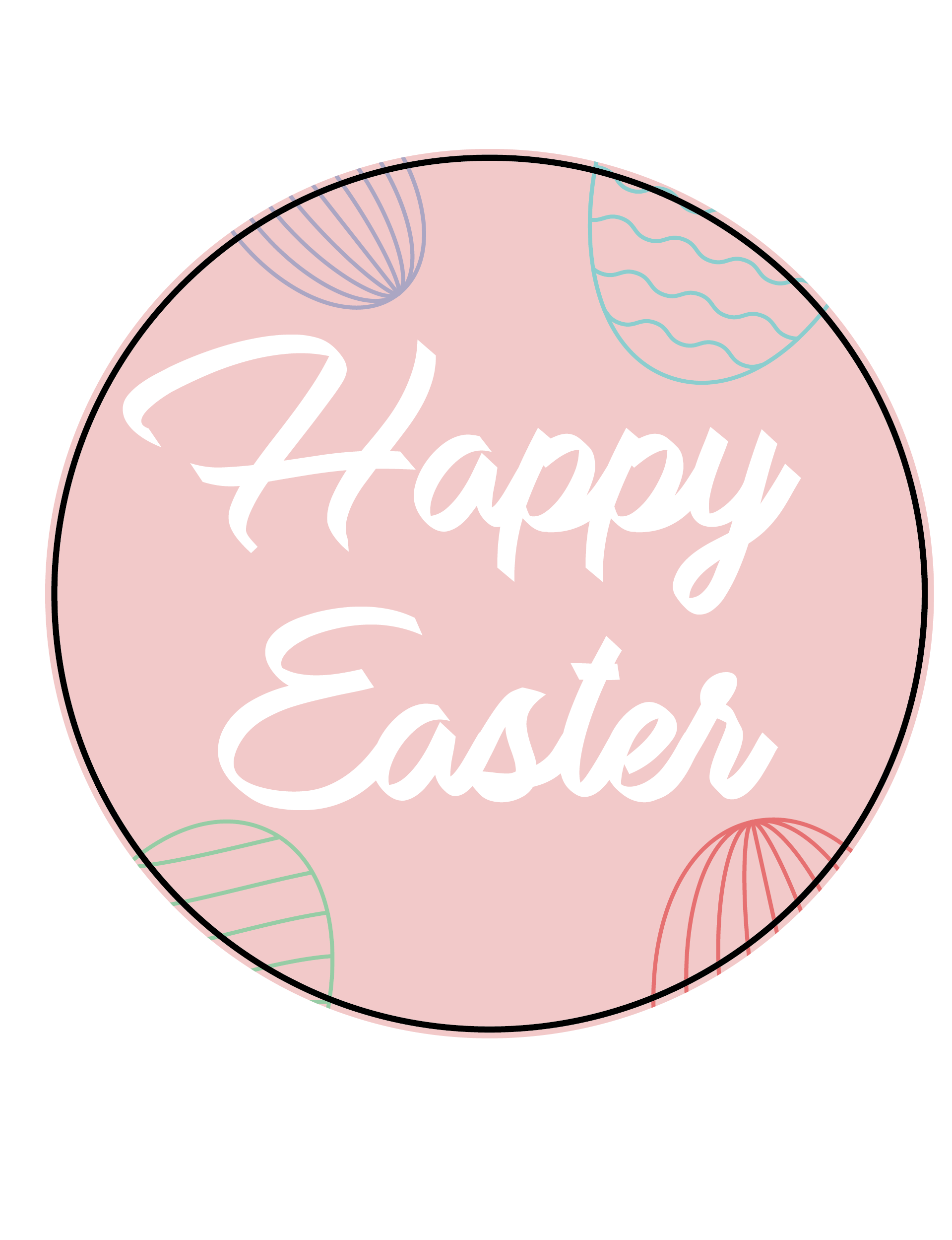 Pink Happy Easter Themed Stickers