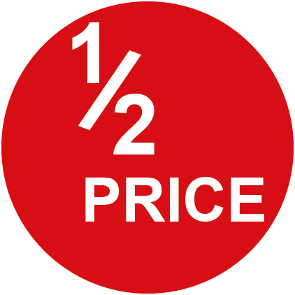 Half Price Round Special Offer Labels