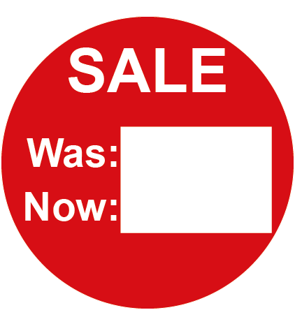 SALE Was & Now Round Labels