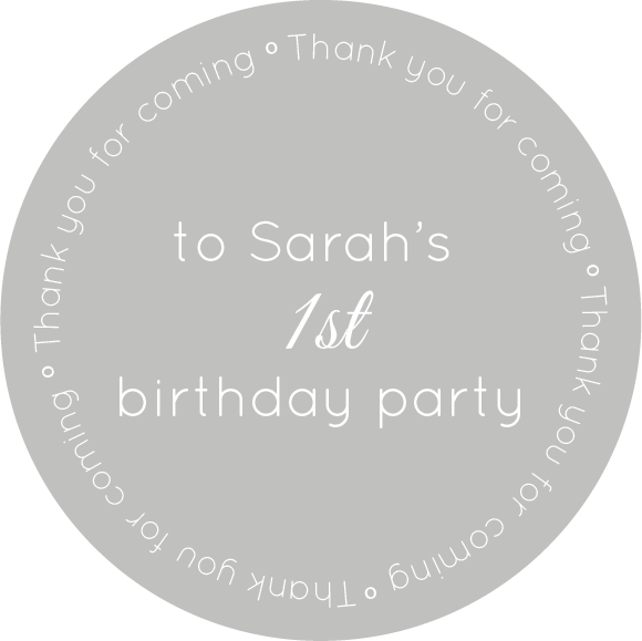 """Thank you for coming"" Birthday themed stickers"