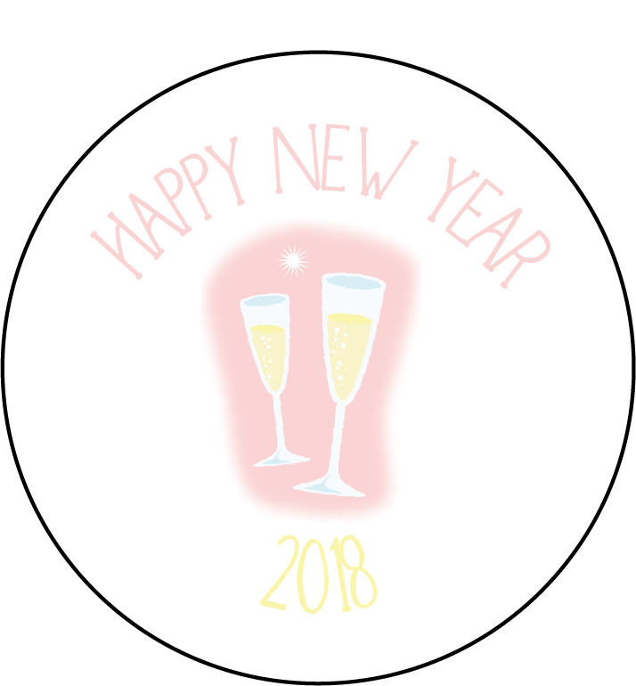 Champagne 2018 New Year Themed Stickers