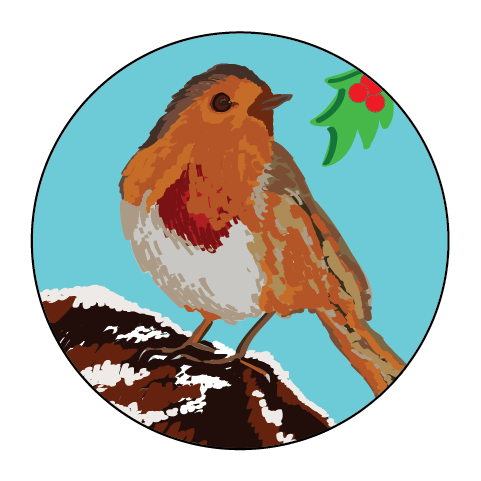 Robin Christmas Themed Stickers