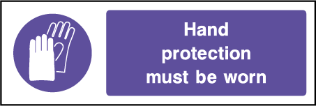 Hand Protection Mandatory Rectangle Labels