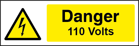 110 Volts Rectangle Electrical Labels