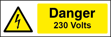 230 Volts Rectangle Electrical Labels