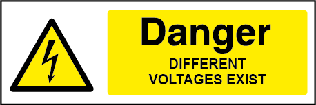 Danger Different Voltages Rectangle Electrical Labels