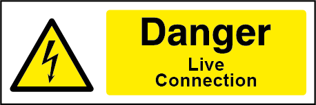 Danger Live Connections Rectangle Electrical Labels