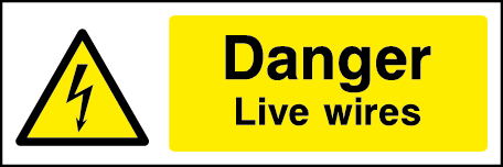 Danger Live Wires Rectangle Electrical Labels