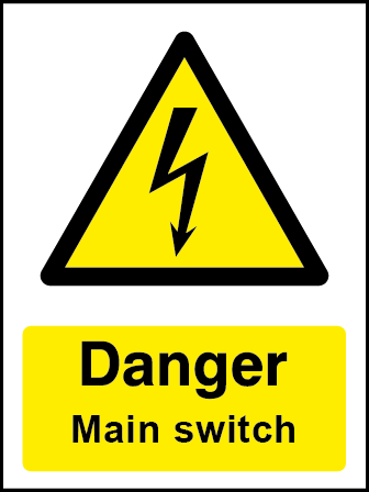 Danger Main Switch Rectangle Electrical Labels
