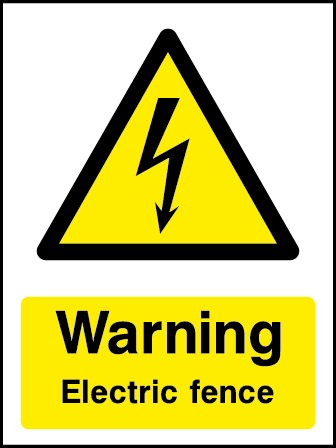 Electric Fence Rectangle Electrical Labels