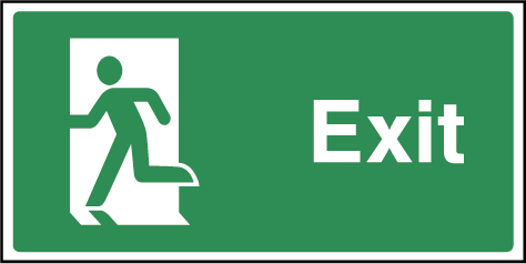 Exit Fire Safety Rectangle Labels