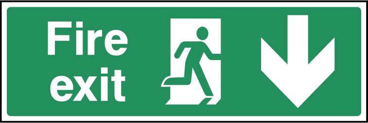 Fire Exit Arrow Down Fire Safety Rectangle Labels