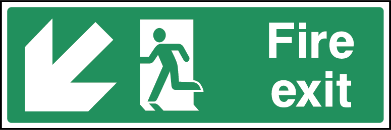 Fire Exit Arrow SW Fire Safety Rectangle Labels