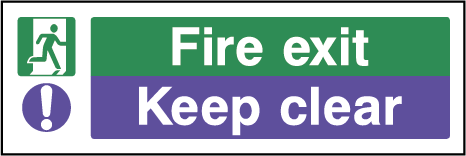 Fire Exit Keep Clear Rectangle Labels