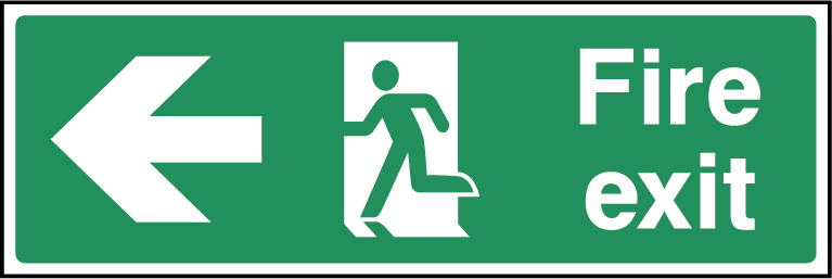 Fire Exit Arrow Left Fire Safety Rectangle Labels