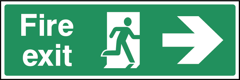 Fire Exit Arrow Right Fire Safety Rectangle Labels