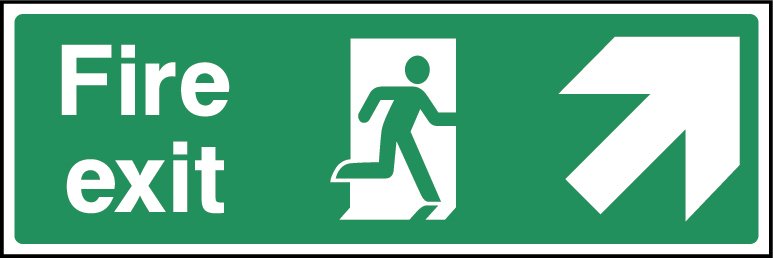 Fire Exit Arrow NE Fire Safety Rectangle Labels