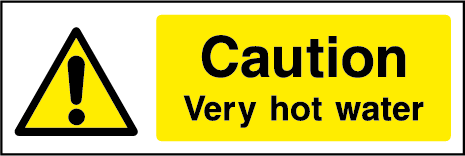 Caution Very Hot Water Rectangle Labels