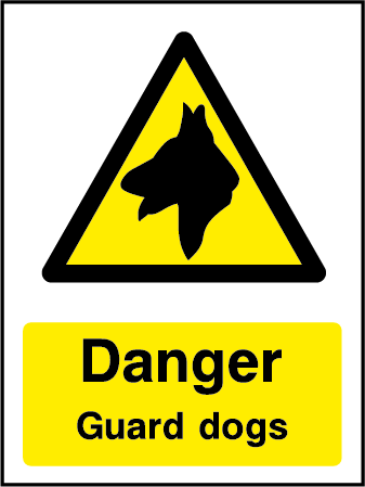 Warning Guard Dogs Hazard Rectangle Labels