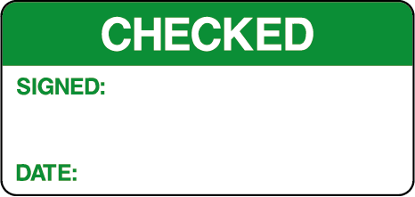 Checked Signed Date Quality Control Inspection Labels