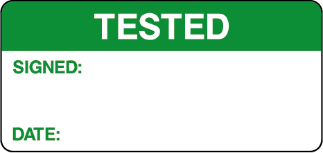 Tested Signed Date Quality Control Inspection Labels