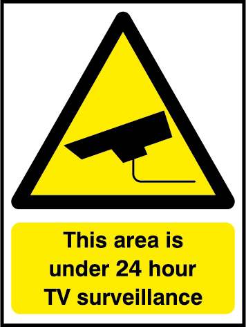 Area Under Surveillance 247 CCTV Rectangle Labels