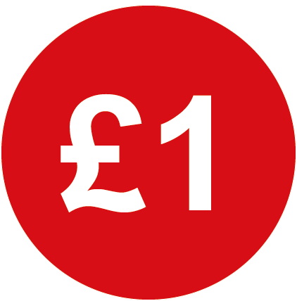 £1 Round Price Labels Red