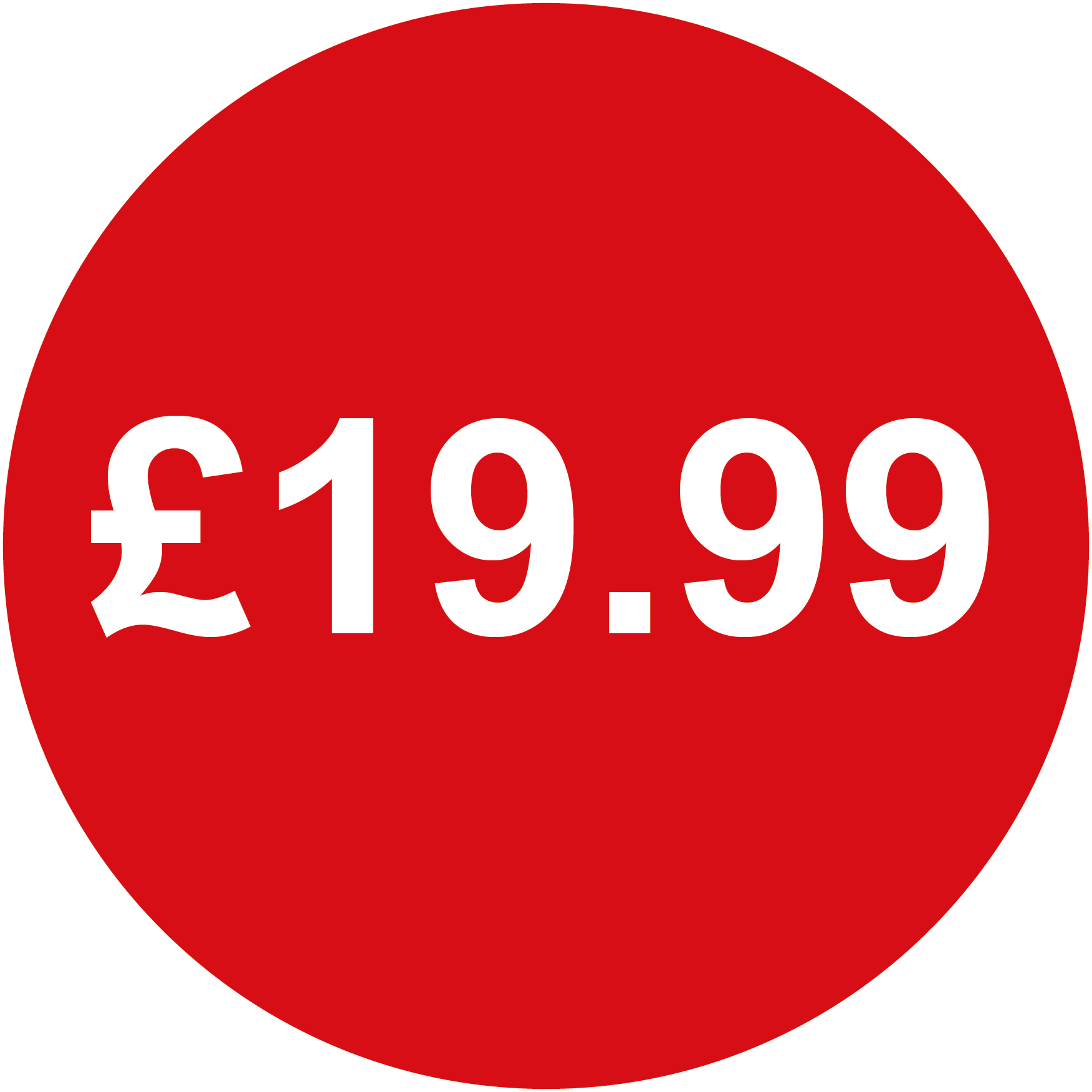 Red /£10 From 99p to /£10 Pack of 200 Red 20mm Price Stickers//Sticky Labels