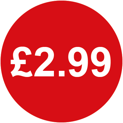 £2.99 Round Price Labels Red
