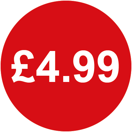 £4.99 Round Price Labels Red