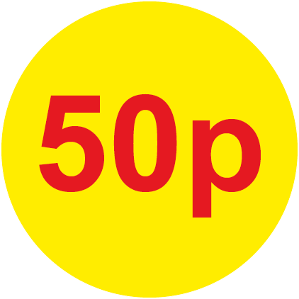 50p Round Price Labels