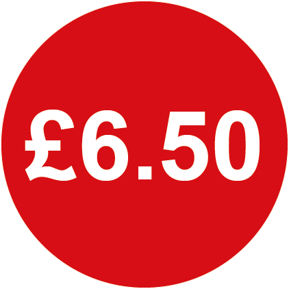 £6.50 Round Price Labels Red