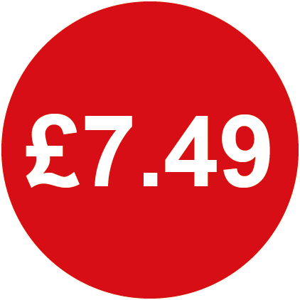 £7.49 Round Price Labels Red