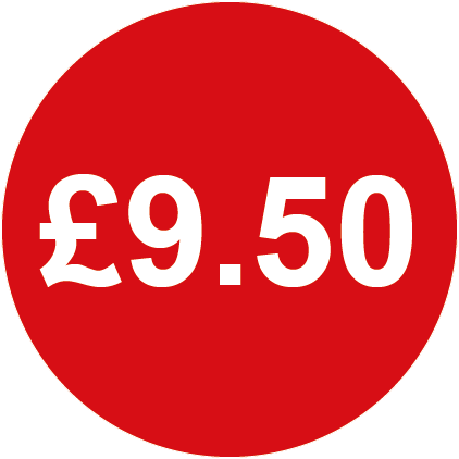 £9.50 Round Price Labels Red