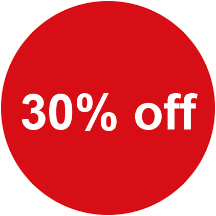 30% Off Round Sales Labels