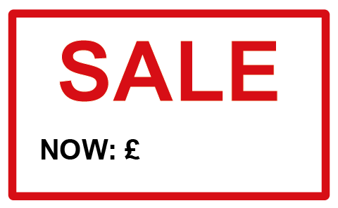 SALE Now Red Border Rectangle Labels