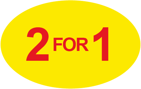 2 for 1 Special Offer Oval Labels